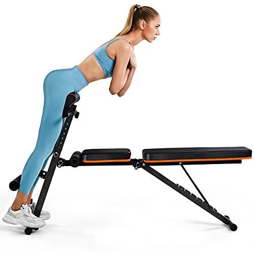 PERLECARE Hantelbank, robuste All-in-One-Bench für Ganzkörpertraining, trage bis zu 350 kg, Hantelbank klappbar mit 7 Rückenpositionen, 7 Höhen, zwei Trainingsbänder, für das Heim-Fitnessstudio