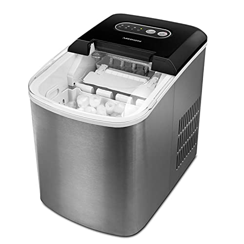 MEDION Eiswürfelmaschine (Eiswürfelbereiter, 2,2 Liter Wassertank, kurze Produktionsdauer 6-12 Minuten, 2 wählbare Eiswürfelgrößen, Edelstahl, MD17739)