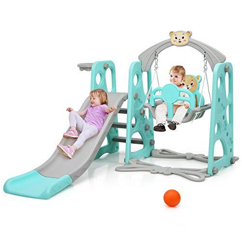 COSTWAY 4 in 1 Kinder Spielplatz, Kinder Rutsche & Schaukel & Basketballkorb & Leiter, Schaukelgerüst, Gartenschaukel, Kinderschaukel, Rutschbahn, Kinderrutsche für In- und Outdoor (Grün)