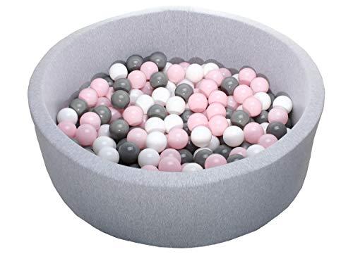 Bebeloo Ballpool 90x30cm mit 200 Bällen Kugeln ∅7cm (nicht ∅6cm) Bällebad Kugelbad Bällchenbad Bällchenpool Melange Grau Rund Made in EU (Rosa/Grau/Weiß)