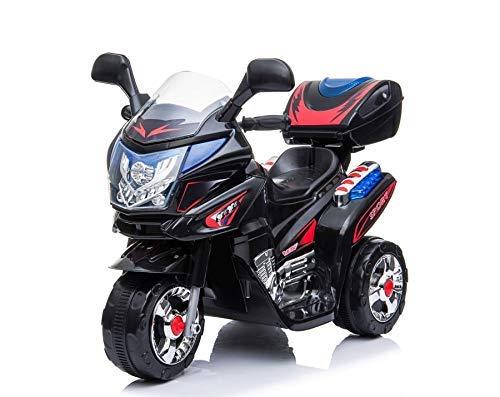 Toyas Kindermotorrad Kinder Elektro Dreirad Polizei Motorrad Fahrzeug Elektromotorrad Kinderelektromotorrad Licht und Sound Schwarz 183099