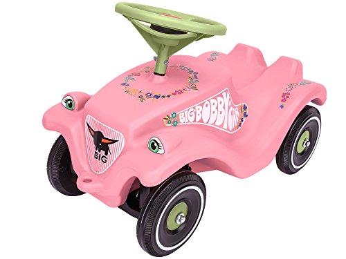 BIG-Bobby-Car Classic Flower - Kinderfahrzeug mit Blumenaufklebern für Jungen und Mädchen, belastbar bis zu 50 kg, Rutschfahrzeug für Kinder ab 1 Jahr, pastell rosa, grün