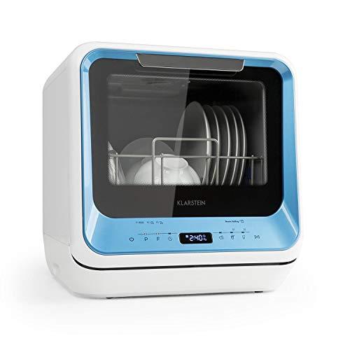 Klarstein Amazonia Mini Spülmaschine Geschirrspüler Geschirrspülmaschine (, Platz für 2 Maßgedecke, 6 Programme, 5 Liter Wasser benötigt, LED-Display, Touch, inkl. Zubehör) blau