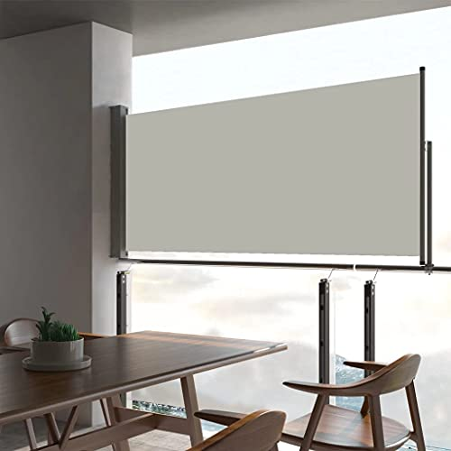 vidaXL Seitenmarkise Ausziehbar UV- und Wasserbeständig Sonnenschutz Sichtschutz Windschutz Seitenrollo Markise Balkon Garten Terrasse 60x300cm Creme