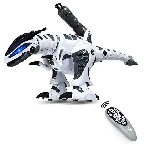 DREAMADE Ferngesteuerter Dino Roboter, Intelligenter Spielzeug Dinosaurier für Kinder, Lernspielzeug Roboter, Interaktiver & Programmierbarer Roboterdino, Roboter Dinosaurier mit Licht & Sound