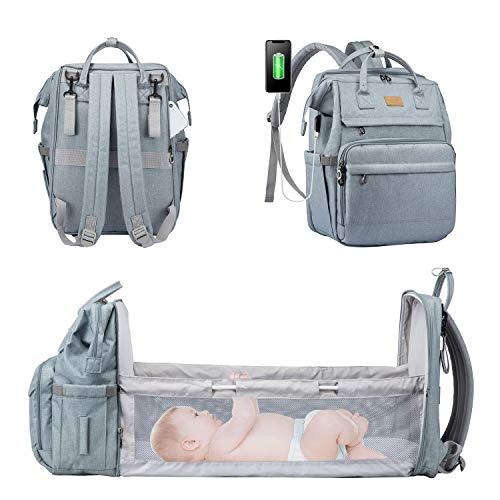 LOVEVOOK Wickelrucksack Rucksack Wickeltasche Groß Baby Tasche für Mama Mommy Bag Diaper Bag Babytaschen mit bett Multifunktional Wickeltaschen Große Kapazität Babyrucksack Wasserdicht, Hellblau