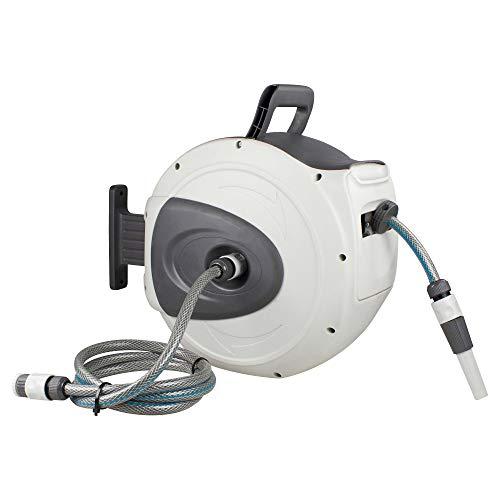 as – Schwabe Automatik-Wasserschlauch-Trommel – mit 20 m PVC-Gewebeschlauch & 2 m Anschlussschlauch – Aufroller mit automatischem Rückzug & Wandhalterung – Garten Zubehör – Grün I 12616