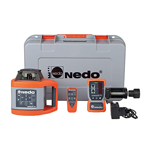 Nedo SIRIUS 1 HV horizontal und vertikal selbstnivellierender Rotationslaser Baulaser Nivellierlaser Laser mit ACCEPTOR 2 Digital und HD Klammer, Laserklasse 2