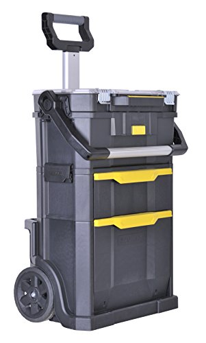 Stanley 2in1 Rollende Werkstatt (56 x 76,4 x 38,2 cm, Werkzeugtrage mit Organizeraufsatz, Schublade, zwei große Fächer, Teleskopgriff, aus robustem Kunststoff) STST1-79231