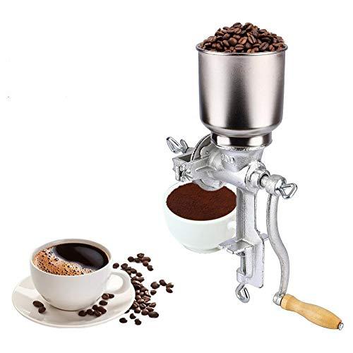 Handkaffeemühle, Manuelle Kornmühle Handmühle Getreidemühle Mohnmühle Schrotmühle Kaffeemühle Nussmühle für Küche zu Hause Silber, 43cm * 28cm * 16cm