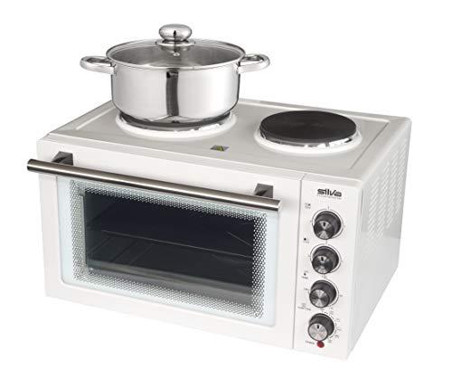 Silva-Homeline KK 2900 Kleinküche mit Umluft und Grillfunktion, großer 30 L Garraum, 3 Einschubebenen, inklusive Grillrost, Pizzablech und Drehspieß, 3300, Weiß