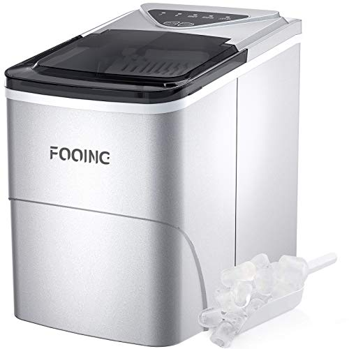 Eiswürfelmaschine FOOING Ice Maker Cube Maschine Bereit in 6 Minuten 2L Eisbereiter mit Selbstreinigungsfunktion LED-Anzeige Ice Cube Machine für Zuhause