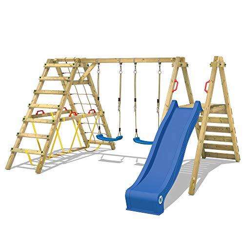 WICKEY Kinderschaukel Schaukelgestell Smart Shake mit blauer Rutsche und Kletteranbau, Schaukel, Schaukelgerüst, Doppelschaukel, Holzschaukel