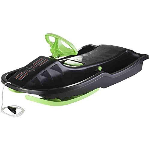Stiga Kinder Snowpower Steering Sledge, Black/Green, One Size