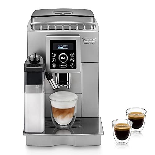 De'Longhi ECAM 23.466.S Kaffeevollautomat mit LatteCrema Milchsystem, Cappuccino und Espresso auf Knopfdruck, Digitaldisplay mit Klartext, 2-Tassen-Funktion, Großer 1,8 Liter Wassertank, silber