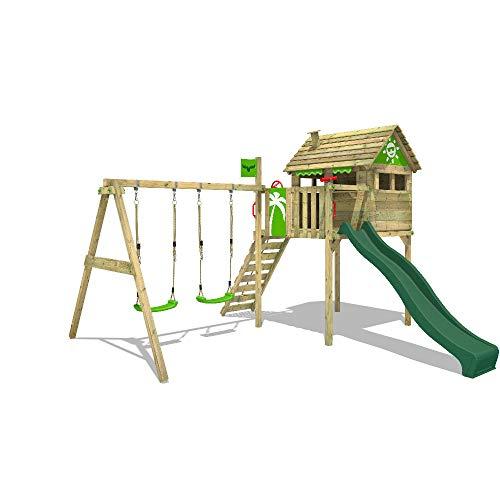 FATMOOSE Spielturm Klettergerüst FunFactory mit Schaukel & grüner Rutsche, Stelzenhaus mit Leiter & Spiel-Zubehör