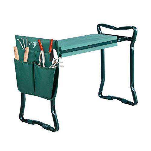 HENGMEI Kniebank Gartenarbeit Gartenhocker klappbar Gartenbank Garten Arbeitshocker Sitzbank Gartensitz bis 150 kg mit Werkzeugtasche