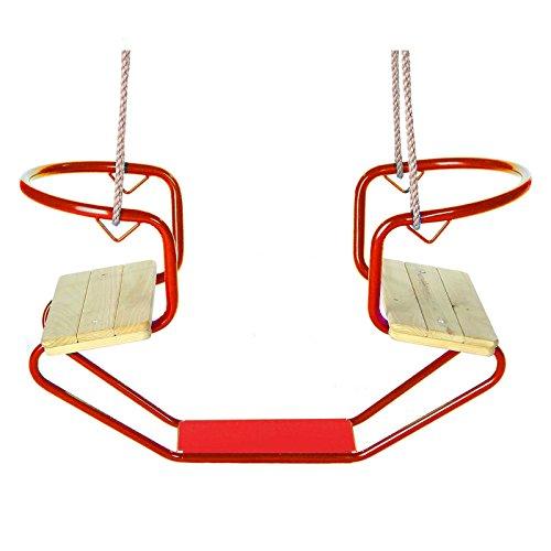 Gartenpirat Gondelschaukel Doppelschaukel aus Metall mit Sitzfläche aus Holz rot