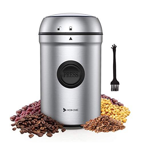Hosome Kaffeemühle Elektrische, 200W Edelstahl Kaffeemühle, 25000 U/min Leistungsstarker Motor Getreidemühle, mit 304 Edelstahlklingen und Reinigungsbürste, für Kaffeebohnen Nüsse