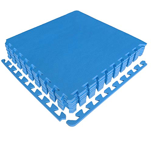 diMio Sport-Schutzmatten - Puzzlematten inkl. Randstücke in Blau, 8 Puzzleteile à 50x50cm, Wasserfest - Schutzmatte/Unterlegmatte/Fitnessmatte/Bodenschutz Matte (Blau, 1er Set)