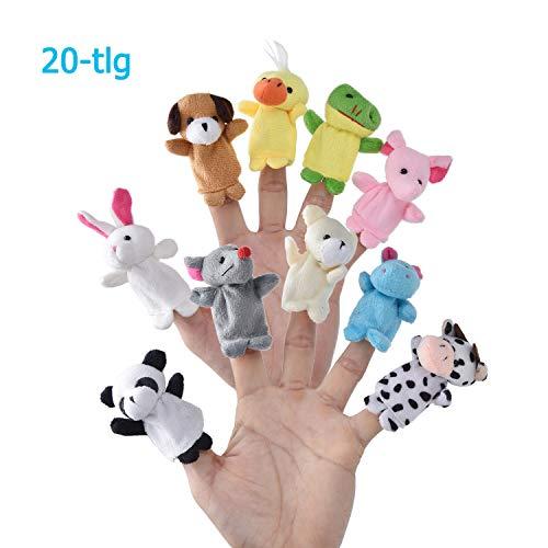 LivDeal Fingerpuppen [20-TLG]Baby Mitgebsel Kindergeburtstag Finger Plüschtier Set Jungen und Mädchen Geschenke für Oster und Kinderparty