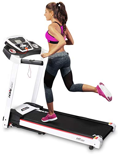 Miweba Sports elektrisches Laufband HT1000 - Incline 6% - Klappbar - 1,75 Ps - 16 Km/h - 12+4 Laufprogramme - Tablet Halterung - Große Lauffläche (Weiß)