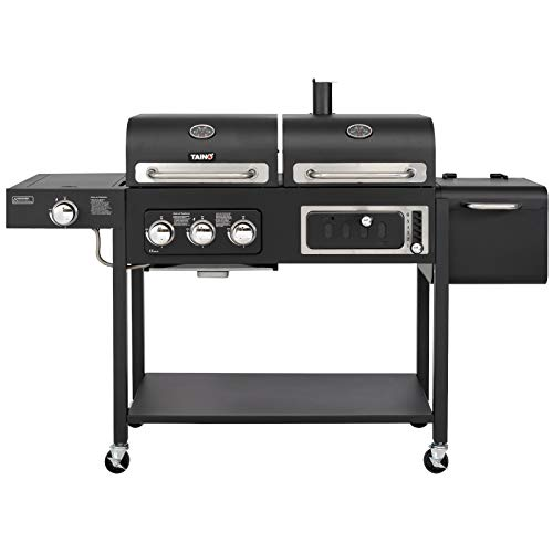 TAINO Hero Duo Gasgrill Holzkohlegrill Smoker Kombigrill Grillwagen 2 in 1 System BBQ Grill Kombistation Gas Kohle schwarz