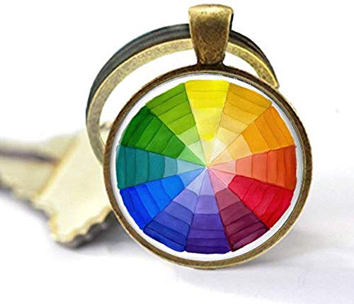 Farbrad-Schlüsselanhänger, Kunst-Schlüsselanhänger, Künstler, Geschenk, Lehrer, Geschenk