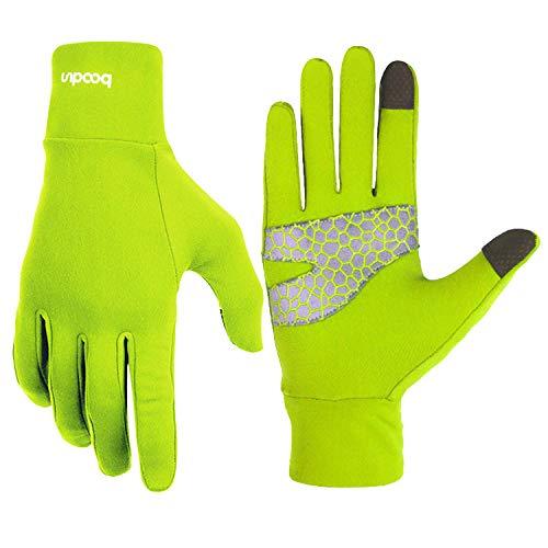 BOODUN Leichte Sporthandschuhe Laufhandschuhe Running Handschuhe Slim mit Touchscreen-Funktion und Anti-Rutsch Funktion - Grün - L/XL