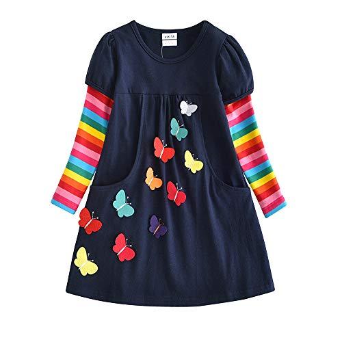 VIKITA Mädchen Kleider Streifen Langarm Baumwolle Herbst Winter T-Shirt Kleid, Mehrfarbig LH5805, 6-7 Jahre (122cm)