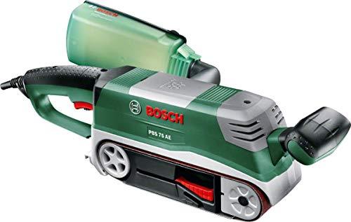 Bosch Bandschleifer PBS 75 AE Set (750 W, Bandgeschwindigkeit 200-350 m/min, Schleiffläche 165x76 mm, im Koffer)