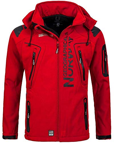 Geographical Norway Techno Softshelljacke Herren Kapuze abnehmbar, Red, XL