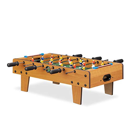 Relaxdays 10022517 Tischkicker, Tischfussball Kinder und Erwachsene, Fußball Tischspiel, Holz-Optik, B x T 69 x 37 cm, grün-braun