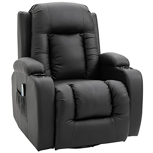 HOMCOM Massagesessel Fernsehsessel Relaxsessel TV Sessel Wärmefunktion Wippenfunktion mit Fernbedienung Liegefunktion Schwarz 85 x 94 x 104 cm