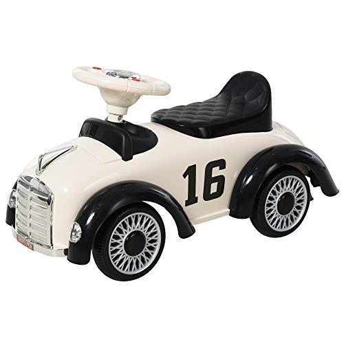 HOMCOM Rutschauto Rutscherfahrzeug Kinderauto Kinderfahrzeug klassische Auto Laufhilfe mit Hupe Kunststoff Stahl Weiß 70 x 28,5 x 37 cm