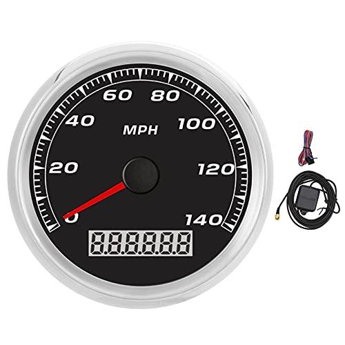 Cryfokt 3.3in GPS-Tachometer 0-140MPH Auto-Motorrad-Boots-Tachometer-Kilometerzähler LCD Bildschirm Rote Hintergrundbeleuchtung IP67 wasserdicht Universeller Schrittmotor für Schiffe, Baumaschinen