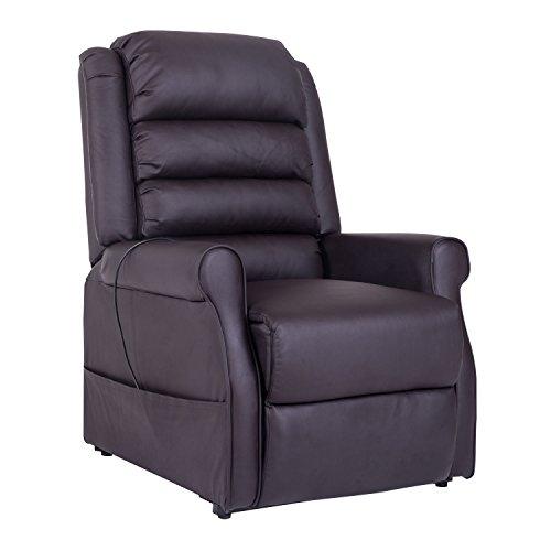 HOMCOM Massagesessel Elektrischer Relaxsessel Fernsehsessel mit Wärmefunktion Liegefunktion Aufstehhilfe PU Braun 88 x 83 x 110 cm