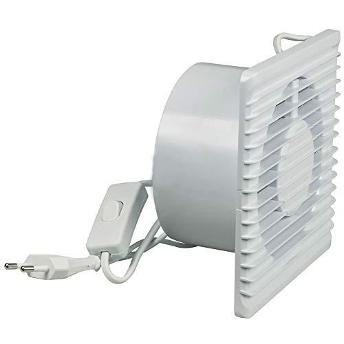 TronicXL 125mm Bad-Lüfter Ventilator Wand Einbau Badlüfter Wandlüfter Wandventilator WC Badezimmer/Küche Dunstabzugshaube Abluftventilator mit Ein Aus Schalter am Kabel Einbauventilator
