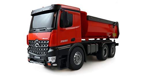Amewi 22407 Elektro RC Modell Inkl. Akku und Ladegerät Mercedes-Benz Arocs Lizenz LKW Kipper 2,4GHz RTR rot