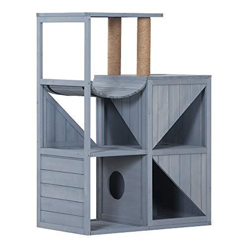 Lovupet Katzenmöbel Kratzmöbel Kratzbaum Katzenhaus Spielhaus aus Holz (Grau)