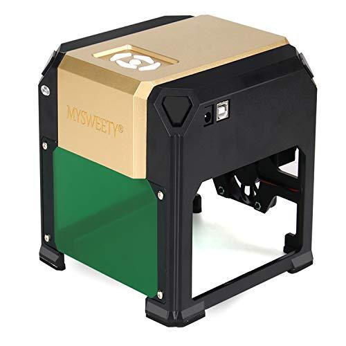 MYSWEETY 3W Desktop Graviermaschine, Graviermaschine Arbeitsbereich 80 * 80mm für DIY-Logo, Holz Gravur DIY Logo Tag und Plastik