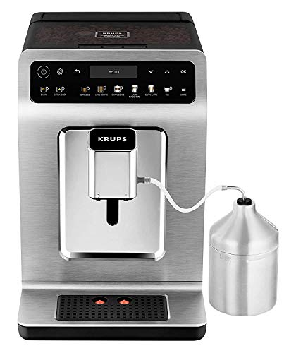 Krups EA894T Evidence Plus Kaffevollautomat, XL OLED-Farbdisplay, Barista Quattro Force Technologie, 16 Kaffee-Variationen, 3 Tee-Variationen, One-Touch-Cappuccino Funktion Titanium-Metallic
