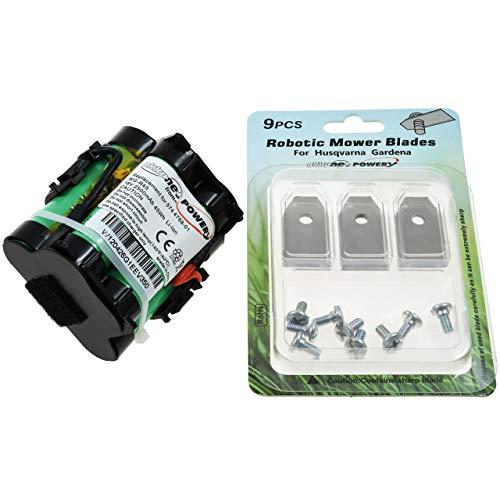 akku-net Powerakku für Mähroboter Gardena R70Li / R40Li / R45Li / R38Li inkl. 9X Ersatz Messer Klingen