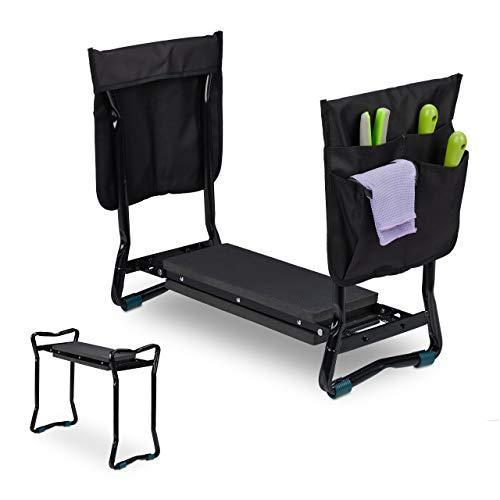 Relaxdays Kniebank für Gartenarbeit, klappbar, bis 150kg, inkl. 2 Taschen, gepolsterte Kniehilfe, 50x60x27,5 cm, schwarz