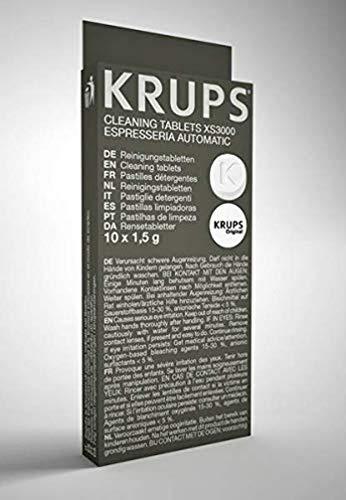 Krups Reinigungstabletten XS3000 für alle Kaffeevollautomaten von Krups, 10 Stück, hygienische Komplett-Reinigung, einfache Verwendung