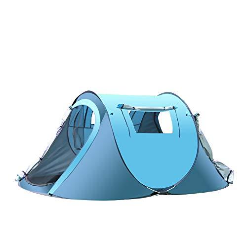 thematys Outdoorzelt leichtes Pop Up Wurfzelt Zelt in Gelb und Blau mit Tragetasche - perfekt für Camping, Festivals und Urlaub (3-4 Personen, Style 2)