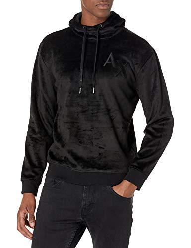 Armani Exchange AX Herren Polar Bonded Fleece Pullover Hoodie Sweatshirt, schwarz, Large