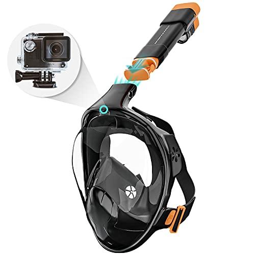 Sportstech CO2-sichere Schnorchelmaske + 180° Anti-Fog-Sichtfeld   Vollmaske Kinder & Erwachsene   Tauchmaske mit Smarter Kamera-Halterung für Unterwasserkamera   Maske schwarz   SNX500 Face Mask