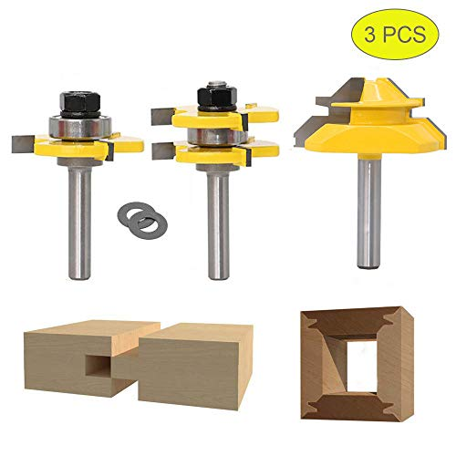 45 Grad Lock Mitre Router Bit, APLUS Holzfräser, Nutfräser + 8 mm Schaft Zungenschaft und Nutfräse Set 3 Zähne in T-Form Cutter aus Holz für Holzarbeiten