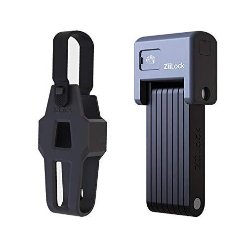 ZiiLock Smart Folding Fahrradschloss, Fingerabdruck- und Smartphone-App Bluetooth-Entriegelung, Hochleistungs-kompaktes faltbares Roller-Fahrradschloss mit Schlüsseln und Koffer, Grau
